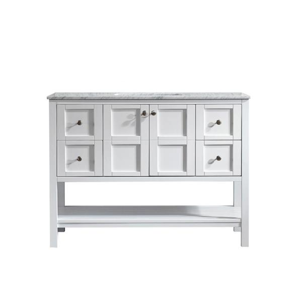 Florence 48 in. W x 22 in. D x 35 in. H Vanity in White with Marble Vanity Top in White with Basin