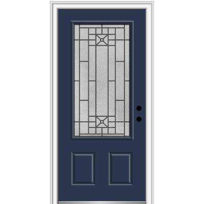 36 in. x 80 in. Courtyard Left-Hand 3/4-Lite Decorative Painted Fiberglass Smooth Prehung Front Door on 6-9/16 in. Frame