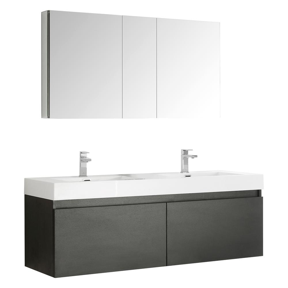 Fresca Mezzo 59 in. Vanity in Black with Acrylic Vanity Top in White with White Basins and Mirrored Medicine Cabinet