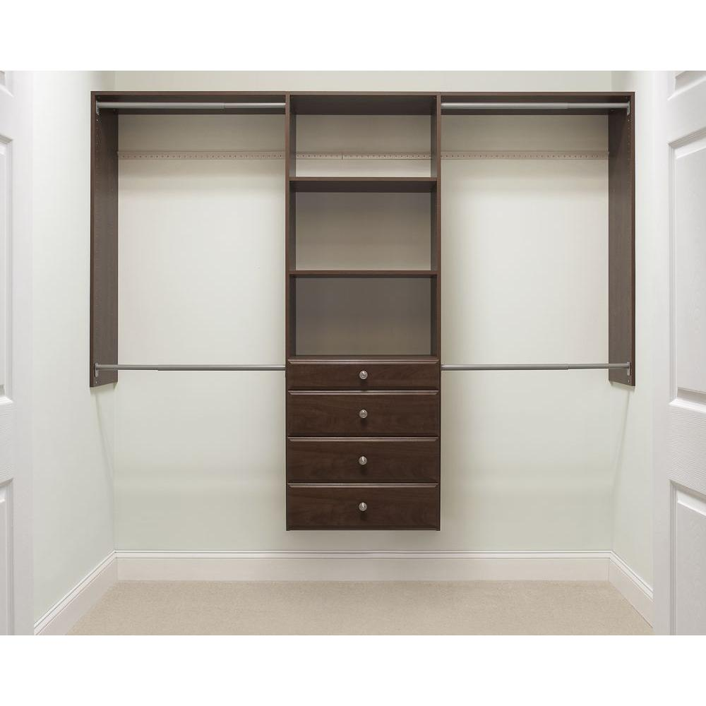 . Martha Stewart Living 14 in  D x 96 in  W x 72 in  H Espresso Ultimate Wood  Closet System Kit