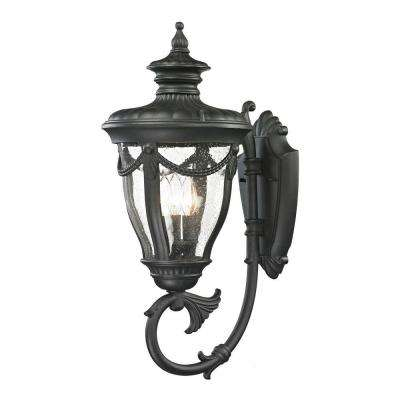 Langley Collection 3-Light Textured Matte Black Outdoor Sconce
