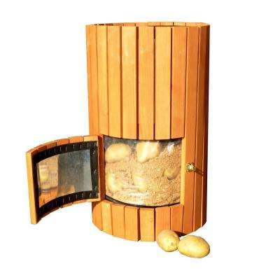 14 in. Dia Natural Wood Potato Planter