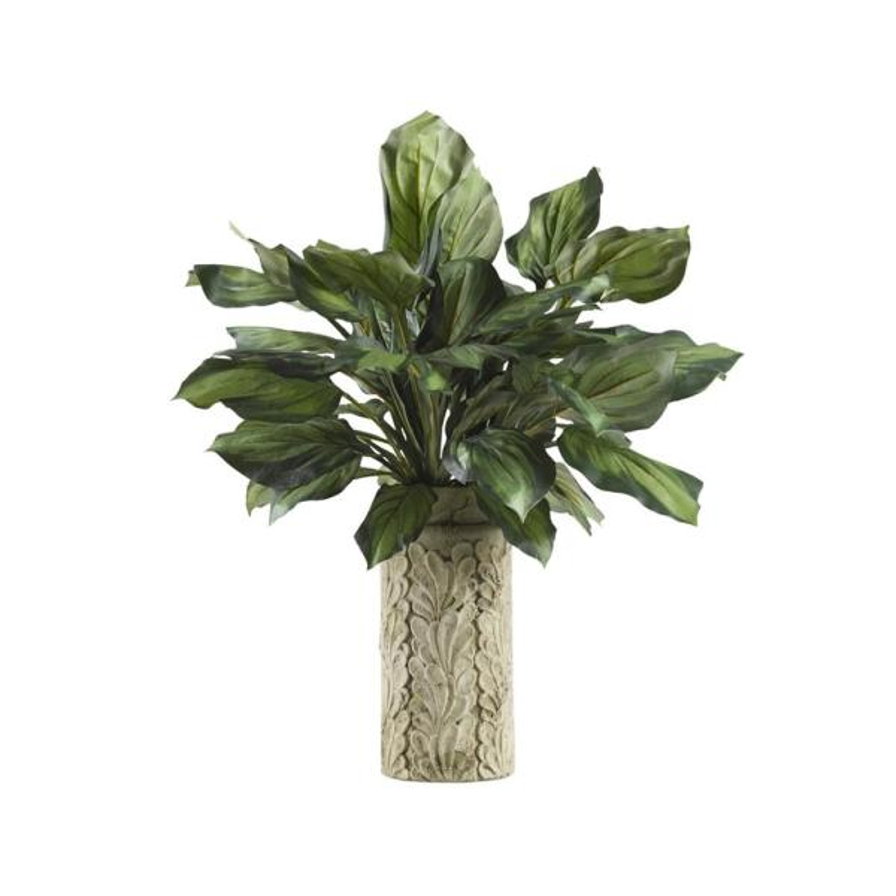 D&W Silks Indoor Hosta Plant in Tall Square Cement Vase