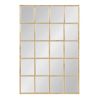 Medium Rectangle Gold Beveled Glass Contemporary Mirror (35.4 in. H x 23.6 in. W)