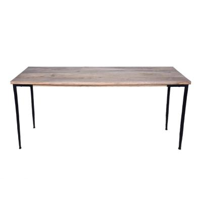 Brown and Black Rectangular Mango Wood Console Table with Tapered Metal Legs