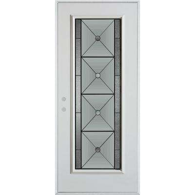 32 in. x 80 in. Bellochio Patina Full Lite Painted White Right-Hand Inswing Steel Prehung Front Door