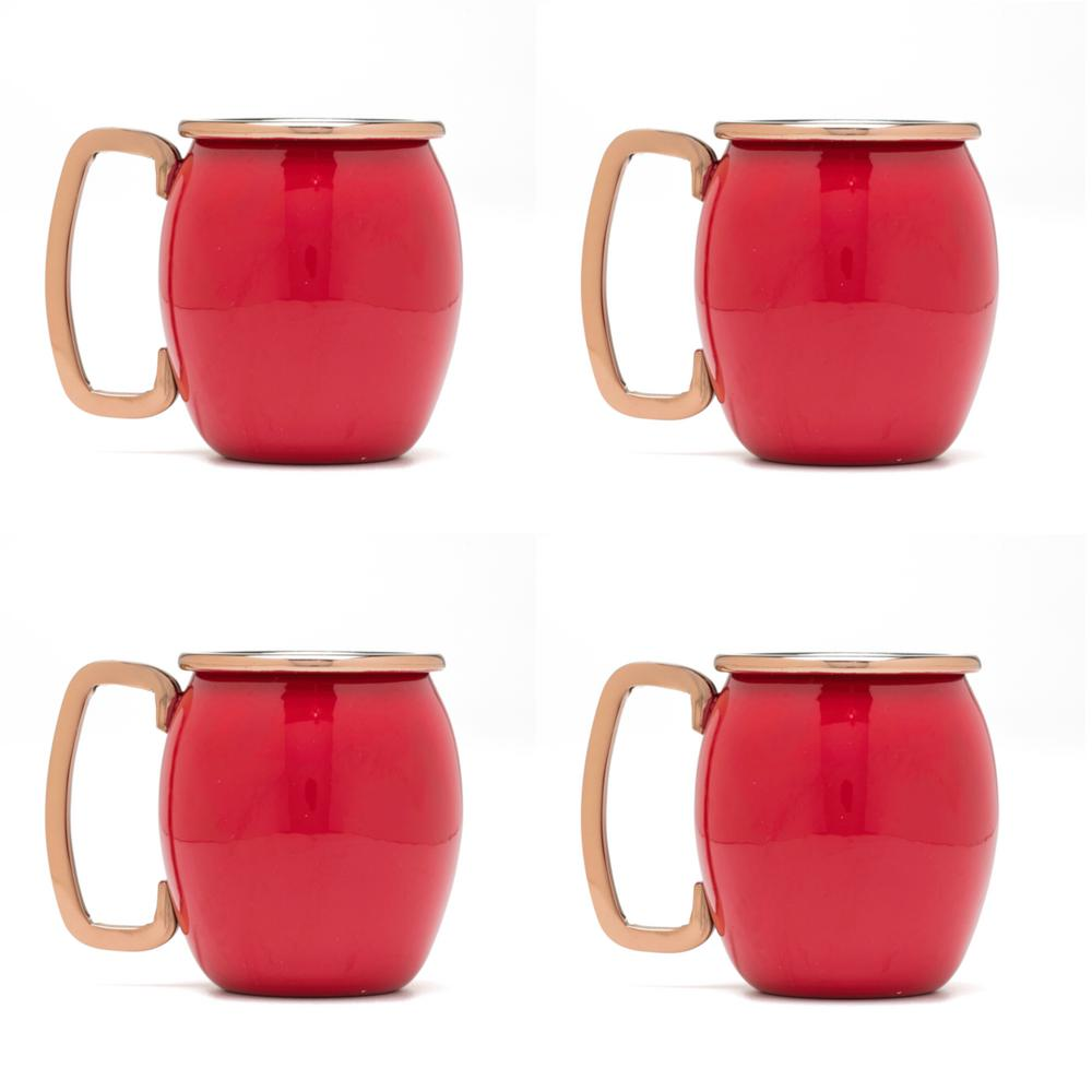 20 oz. Stainless Steel Scarlet Moscow Mule Shots (4-Pack)