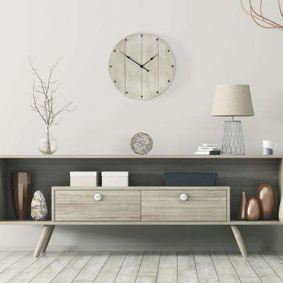 Rustic Whitewash Wood Plank Wall Clock