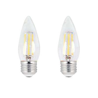 40-Watt Equivalent B10 Dimmable Filament CEC LED ENERGY STAR 90+ CRI Clear Glass Light Bulb, Daylight (2-Pack)