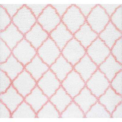 Nelda Trellis Kids Shag Baby Pink 7 ft. 10 in. x 7 ft. 10 in. Square Area Rug