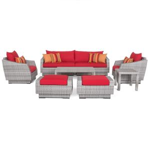 Cannes 8 Piece All Weather Wicker Patio Sofa And Club Chair Conversation  Set With