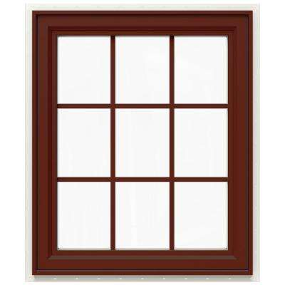 29.5 in. x 35.5 in. V-4500 Series Right-Hand Casement Vinyl Window with Grids - Red