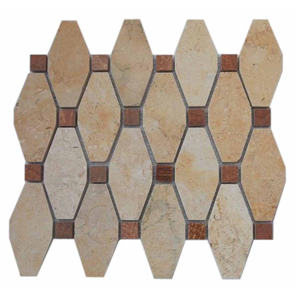 - Ivy Hill Tile Artois Pattern Jerusalem Gold With Wood Onyx Dot