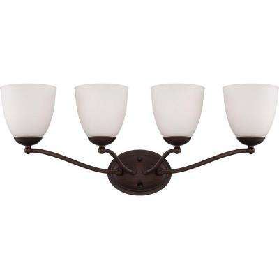 4-Light Prairie Bronze Vanity Fixture with Frosted Glass Shade