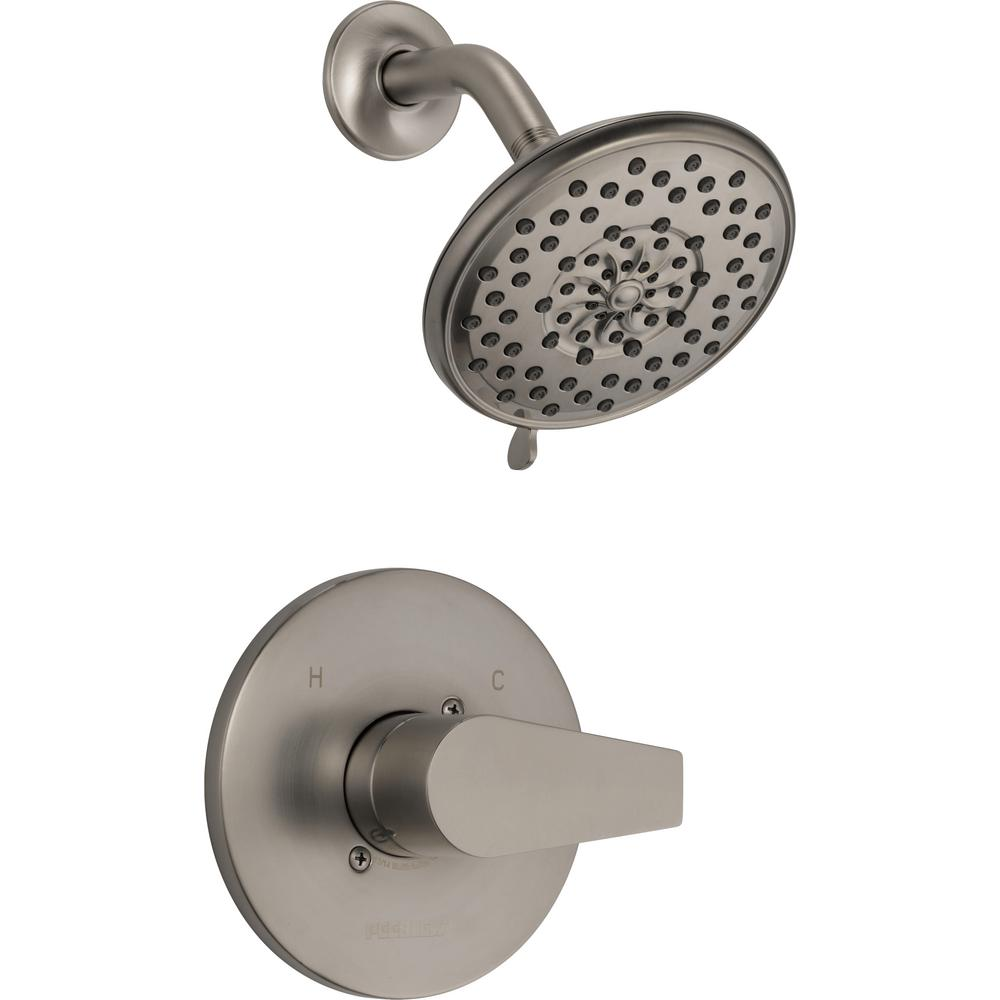 Peerless Xander 1-Handle Wall-Mount Shower Faucet Trim Kit in Brushed Nickel (Valve Not Included)