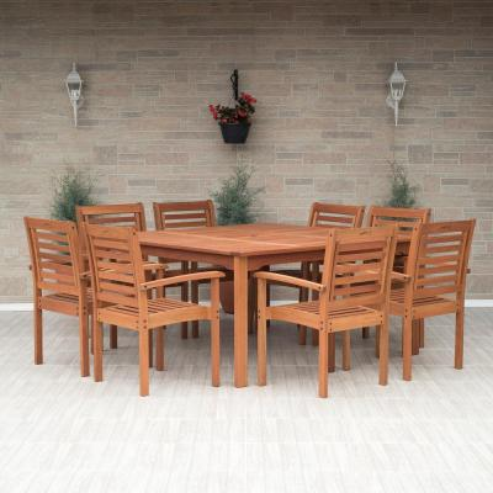 Livorno 9-Piece Square Eucalyptus Wood Patio Dining Set