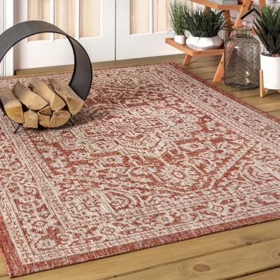 Sinjuri Medallion Red/Taupe 7 ft. 9 in. x 10 ft. Textured Weave Indoor/Outdoor Area Rug