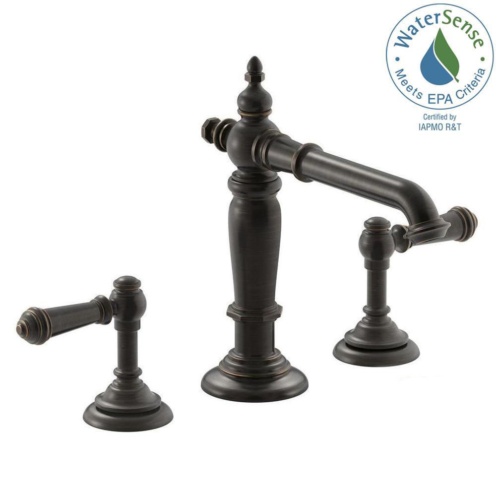 KOHLER Artifacts In Widespread Handle Column Design Bathroom - Kohler bathroom faucet bronze