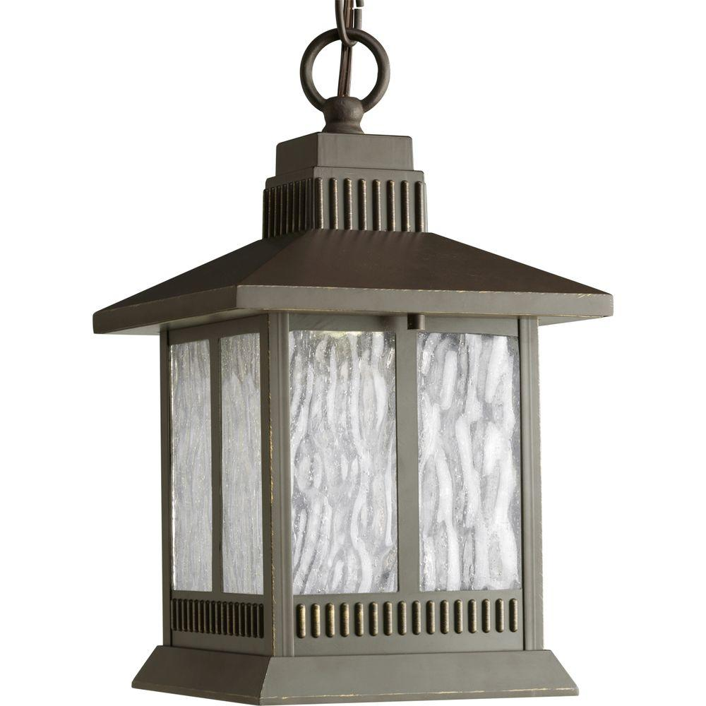 Progress Lighting Greenridge Collection 1-Light Antique Bronze Outdoor Hanging Lantern
