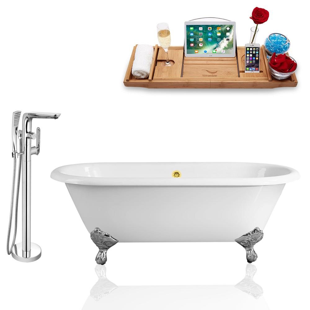 Streamline 60 In Cast Iron Clawfoot Non Whirlpool Bathtub In White Tub Faucet And Tray Set Rh5500ch Gld 120 The Home Depot