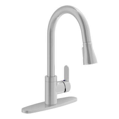 Identity Single-Handle Pull-Down Sprayer Kitchen Faucet with Deck Plate in Stainless Steel