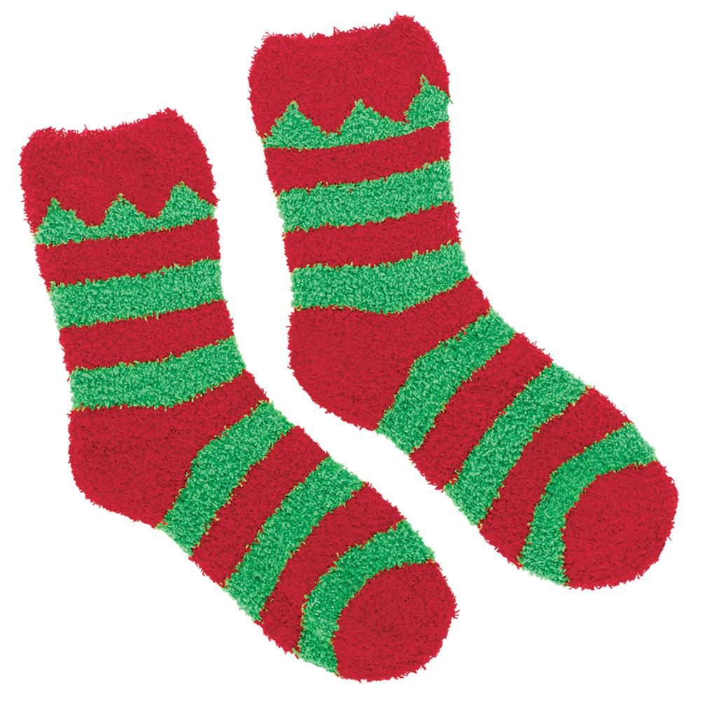 amscan elf red and green christmas fuzzy socks 2 count 4 pack