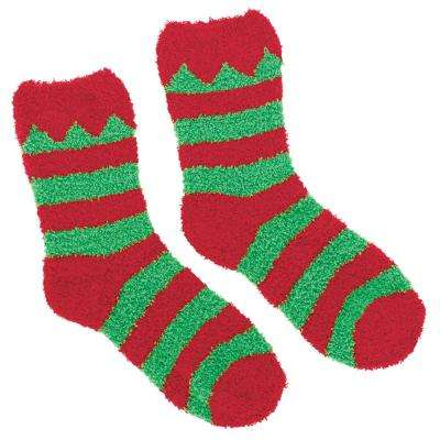 Elf Red and Green Christmas Fuzzy Socks (2-Count, 4-Pack)