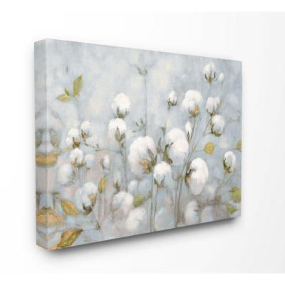 "30 in. x 40 in. ""Cotton Flower Field Neutral Blue Green Landscape Painting"" by Julia Purinton Canvas Wall Art"