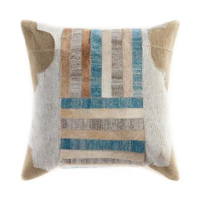 Homestead Turquoise Multicolored Striped Hypoallergenic Polyester 20 in. x 20 in. Throw Pillow