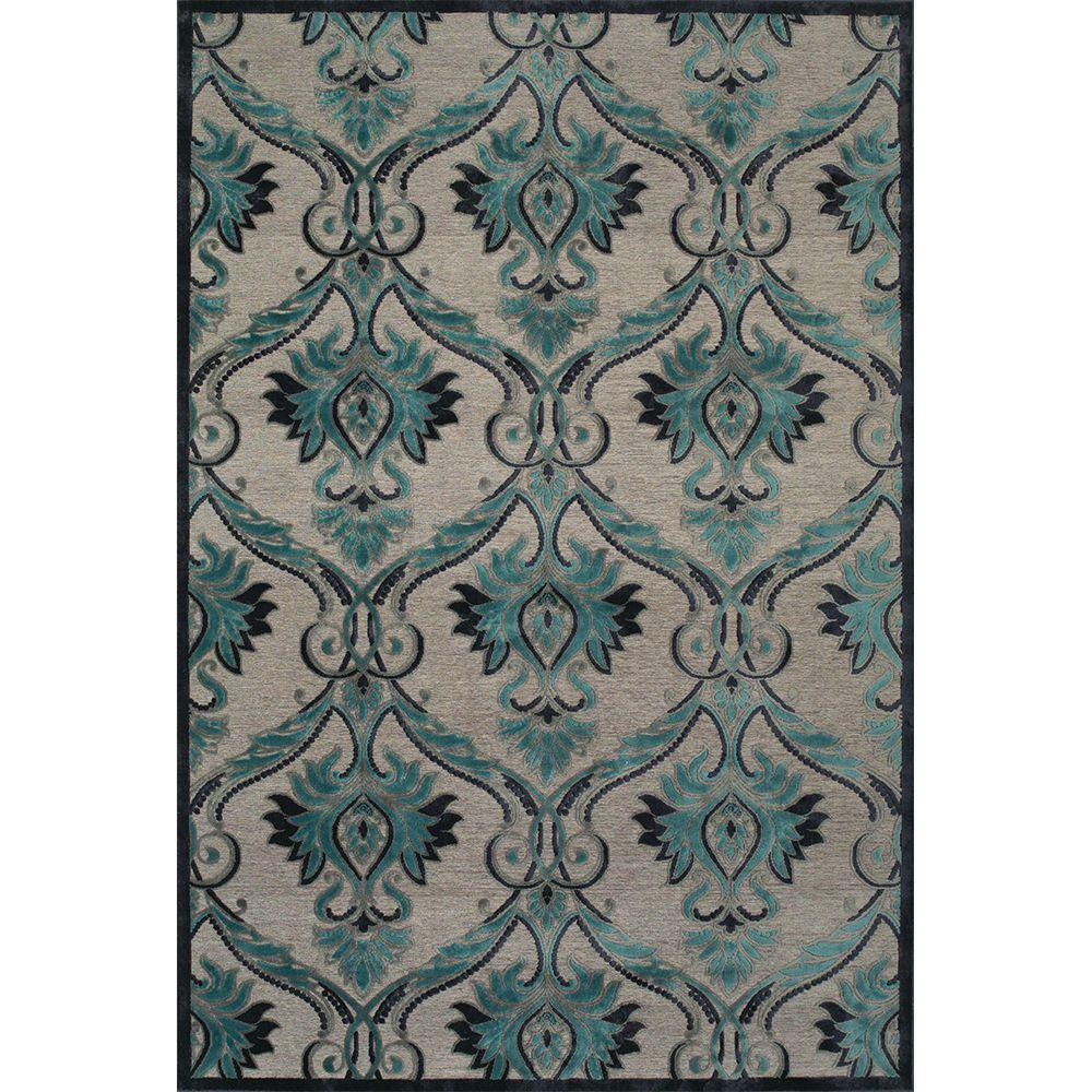 Feizy Saphir Yardley Pewter/Charcoal 2 ft. 2 in. x 4 ft. Indoor Accent Rug