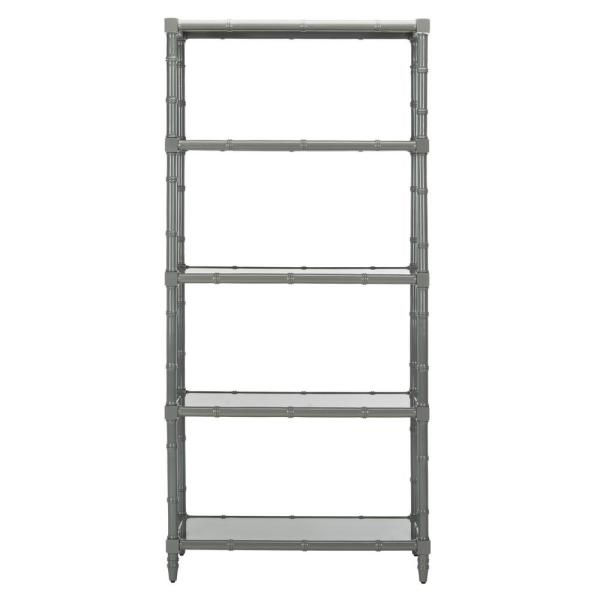 78 in. Gray Bamboo 4-shelf Etagere Bookcase with Open Back