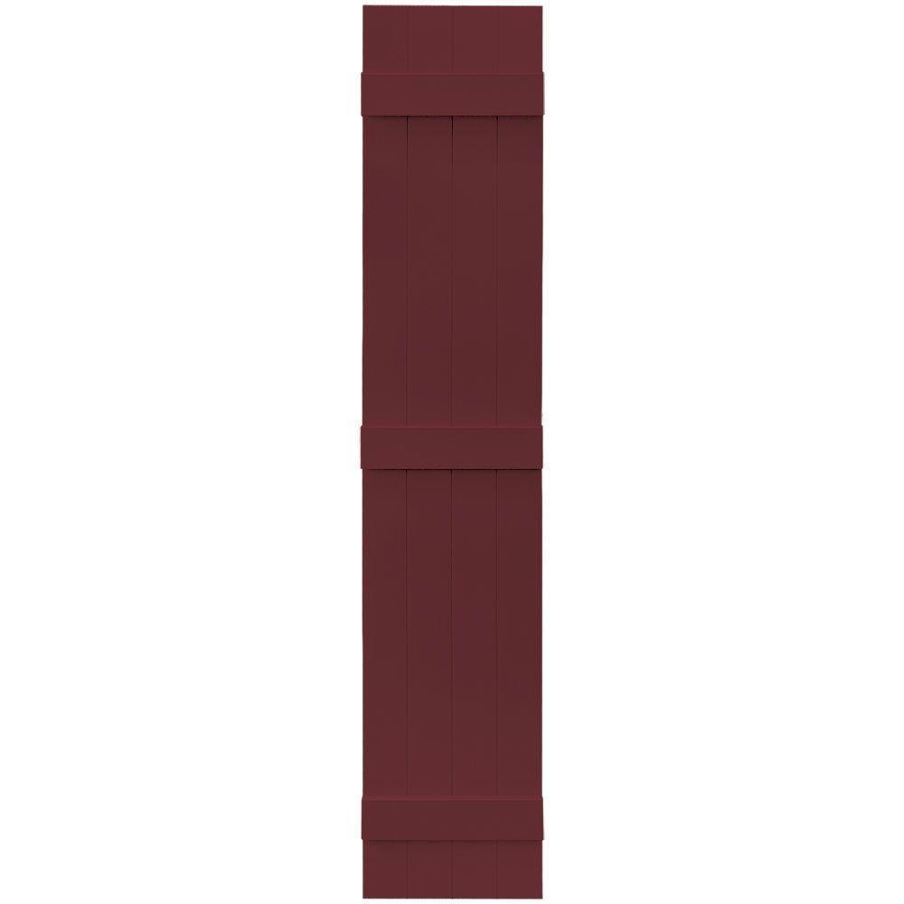 Builders Edge 14 in. x 75 in. Board-N-Batten Shutters Pair, 4 Boards Joined #078 Wineberry