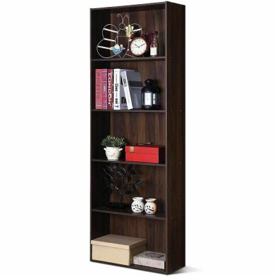 67 in. Walnut Wood 5-shelf Standard Bookcase with Storage