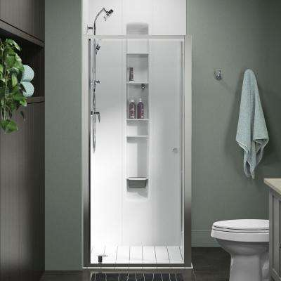 Whiston 36 in. x 74.875 in. Frameless Corner Pivot Shower Door in Silver with Handle
