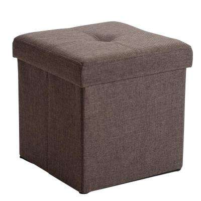 Espresso Linen Look Single Folding Ottoman