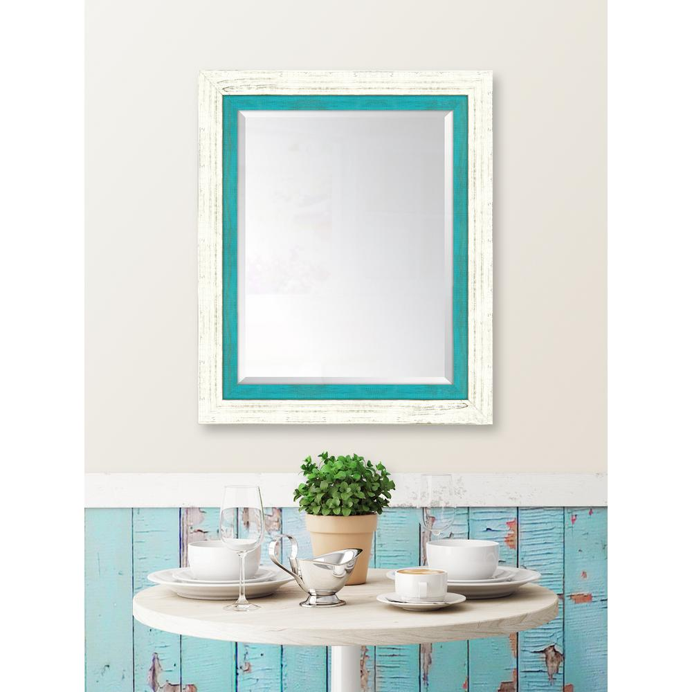 Framed French White Large And Turquoise
