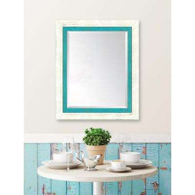 30 in. x 36 in. Framed French White Large and Turquoise Mirror