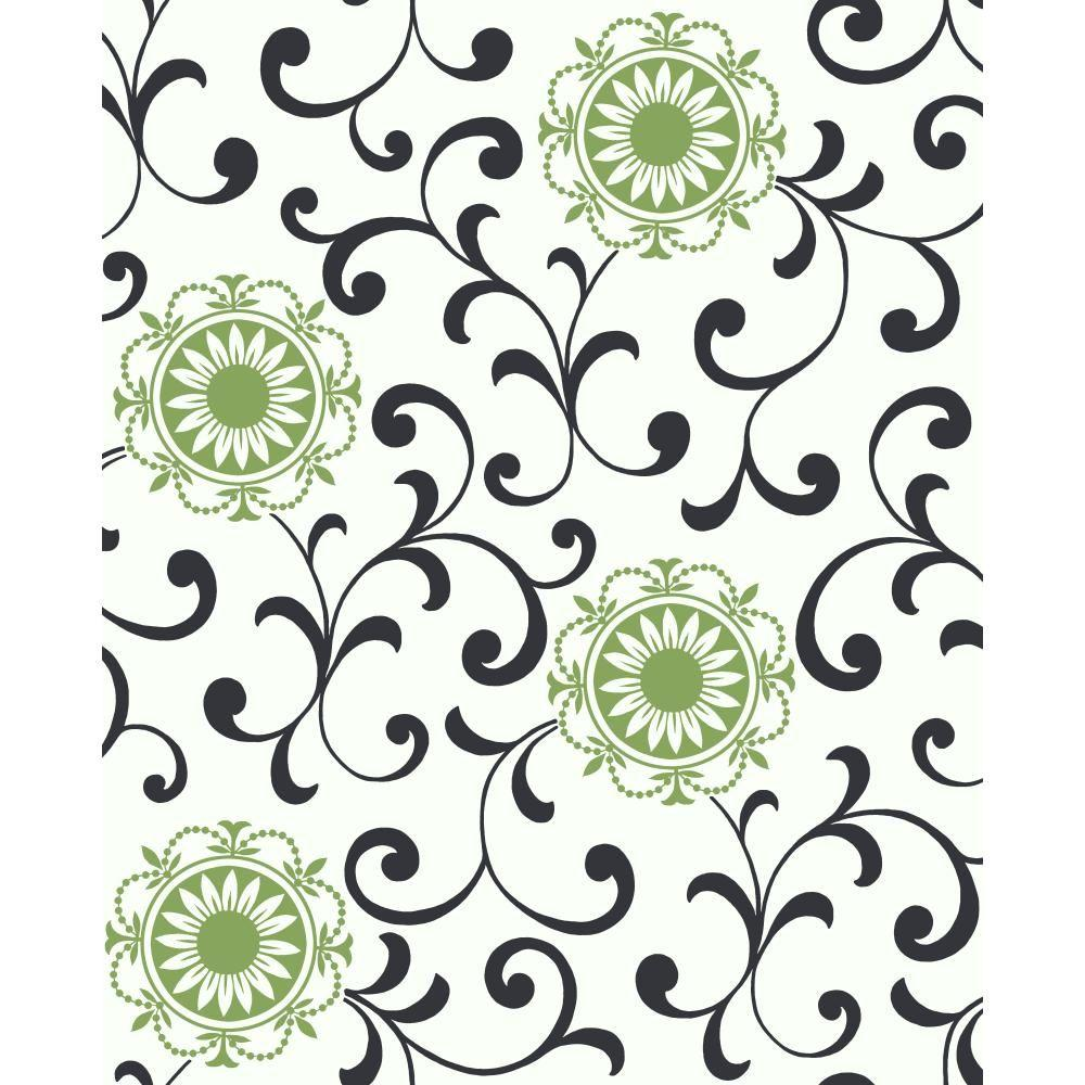 York Wallcoverings Medallion with Scroll Wallpaper