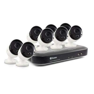8-Channel 5MP 2TB DVR Surveillance System with 8 PIR Wired Bullet Cameras