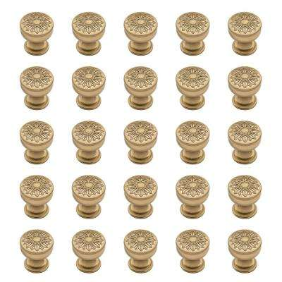 Floral 1-1/4 in. (32 mm) Champagne Bronze Round Cabinet Knob (25-Pack)