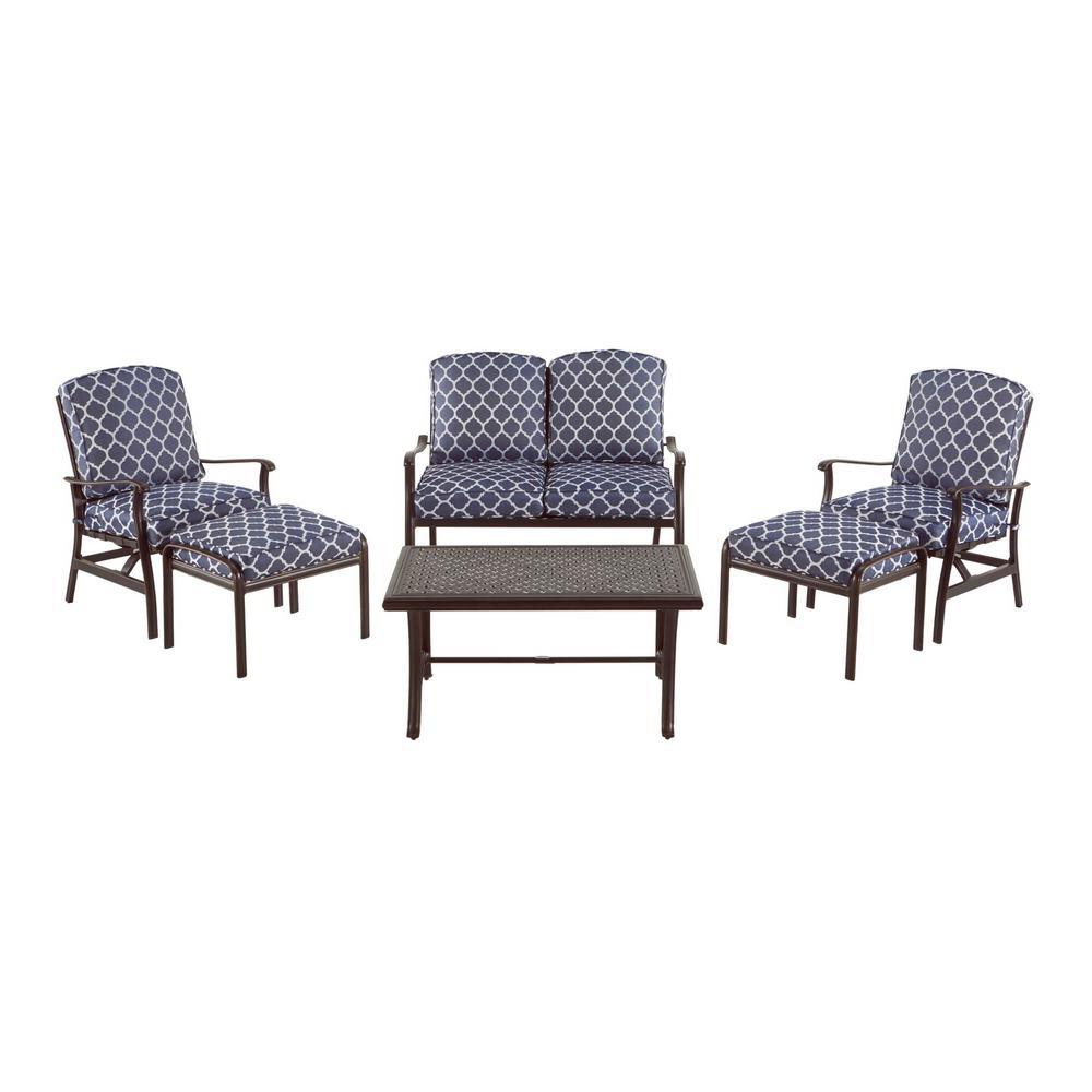 Ridge Falls Dark Brown Aluminum Outdoor Patio Deep Seating Set with CushionGuard Midnight Trellis Navy Blue Cushions