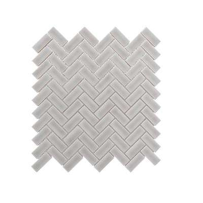 Weather Grey Herringbone 12.375 in. x 12.125 in. x 9.5 mm Ceramic Mosaic Tile