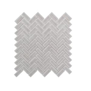 Weather Grey Herringbone 10.25 in. x 11 in. Glossy Ceramic Mosaic Tile