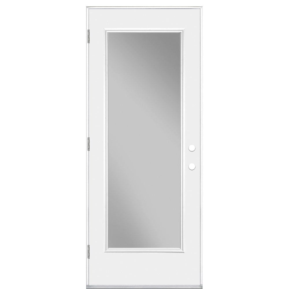 Masonite 32 in. x 80 in. Premium Full Lite Primed Left Hand Outswing Steel Prehung Front Exterior Door No Brickmold