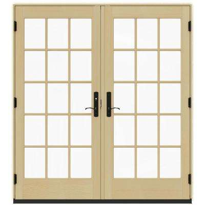 72 in. x 80 in. W-4500 Contemporary Vanilla Clad Wood Right-Hand 15 Lite French Patio Door w/Lacquered Interior