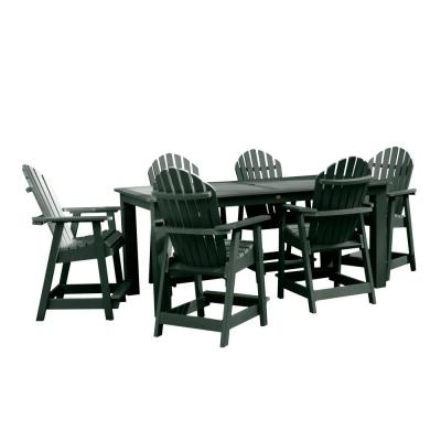 Hamilton Charleston Green 7-Piece Recycled Plastic Rectangular Outdoor Balcony Height Dining Set