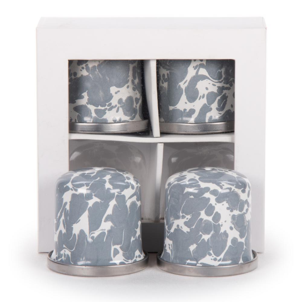 Golden Rabbit Grey Swirl Enamelware Salt and Pepper Shakers (Set of