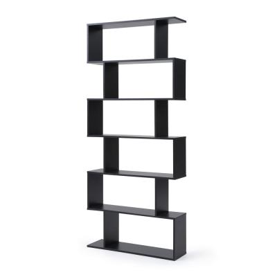 74.8 in. Black Wood 6-shelf Accent Bookcase with Open Back