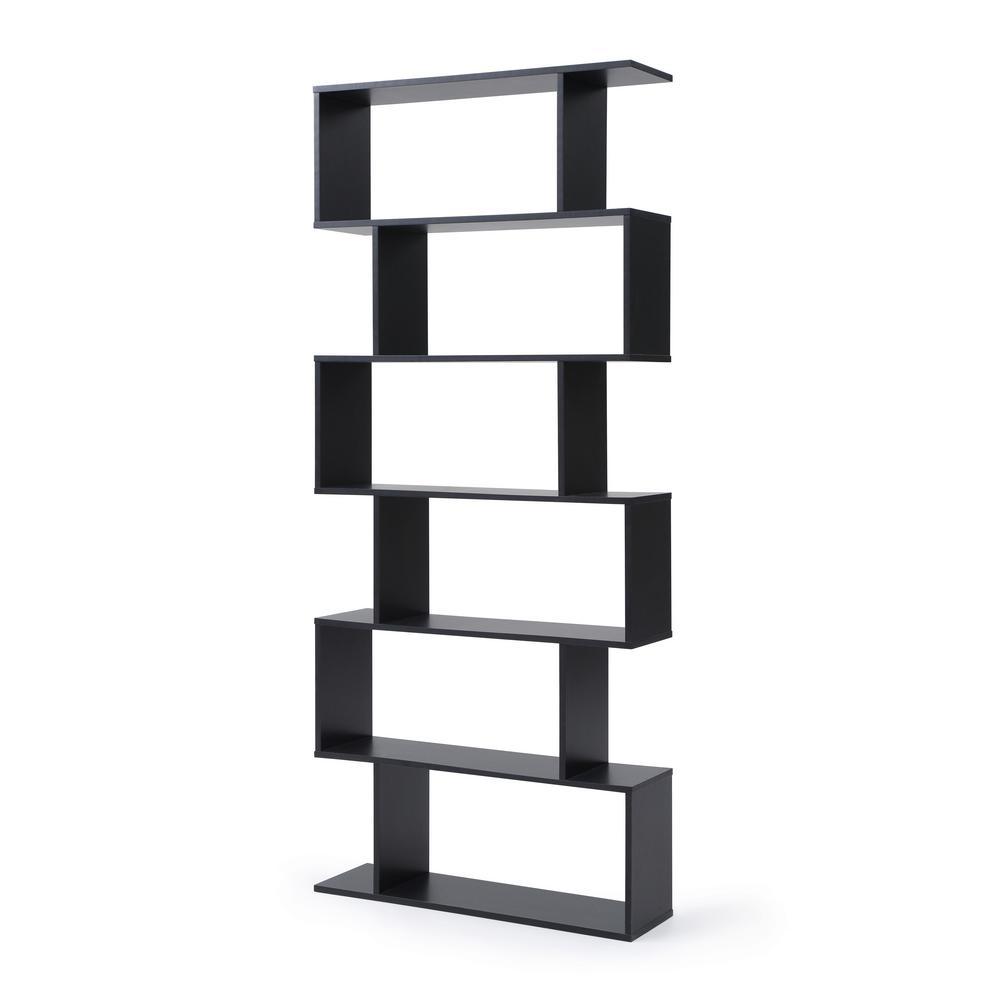 Luke Black Modern Staggered 6-Shelf Bookcase