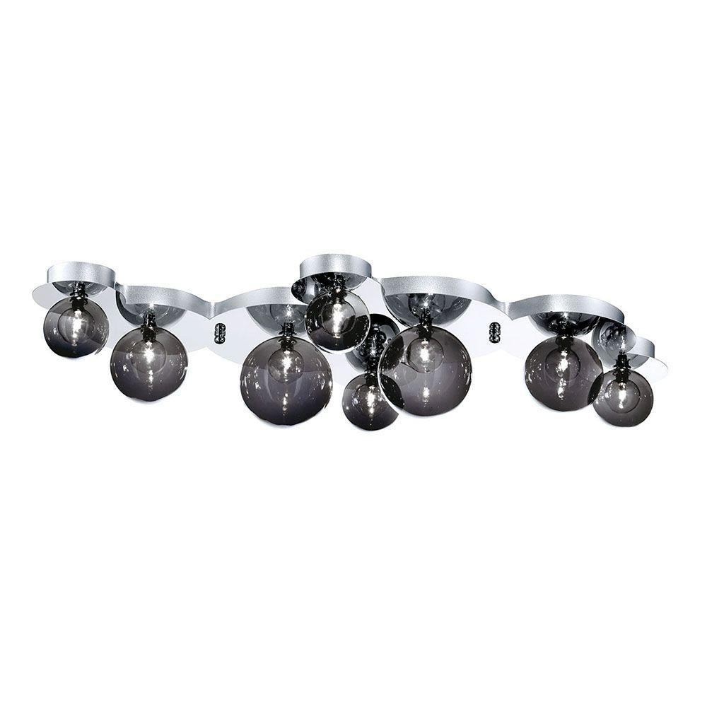 Grappa Collection 8-Light Chrome and Smoke Flushmount